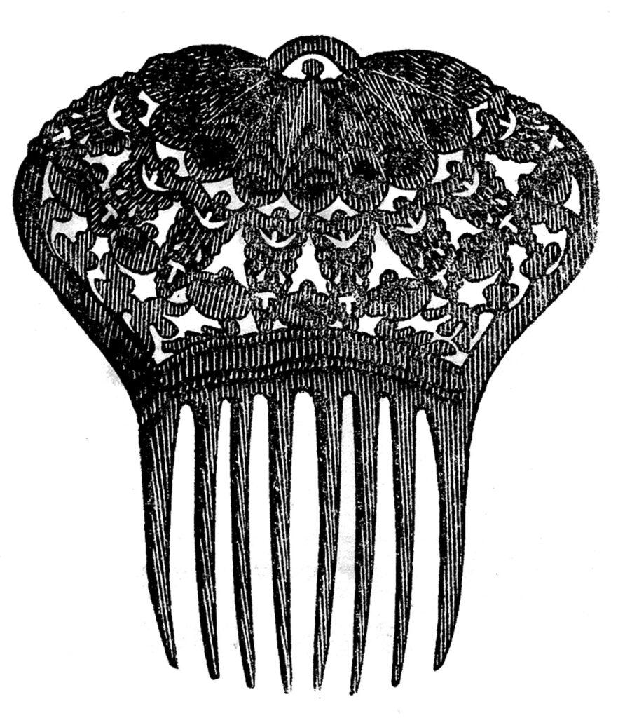 vintage hair comb clipart