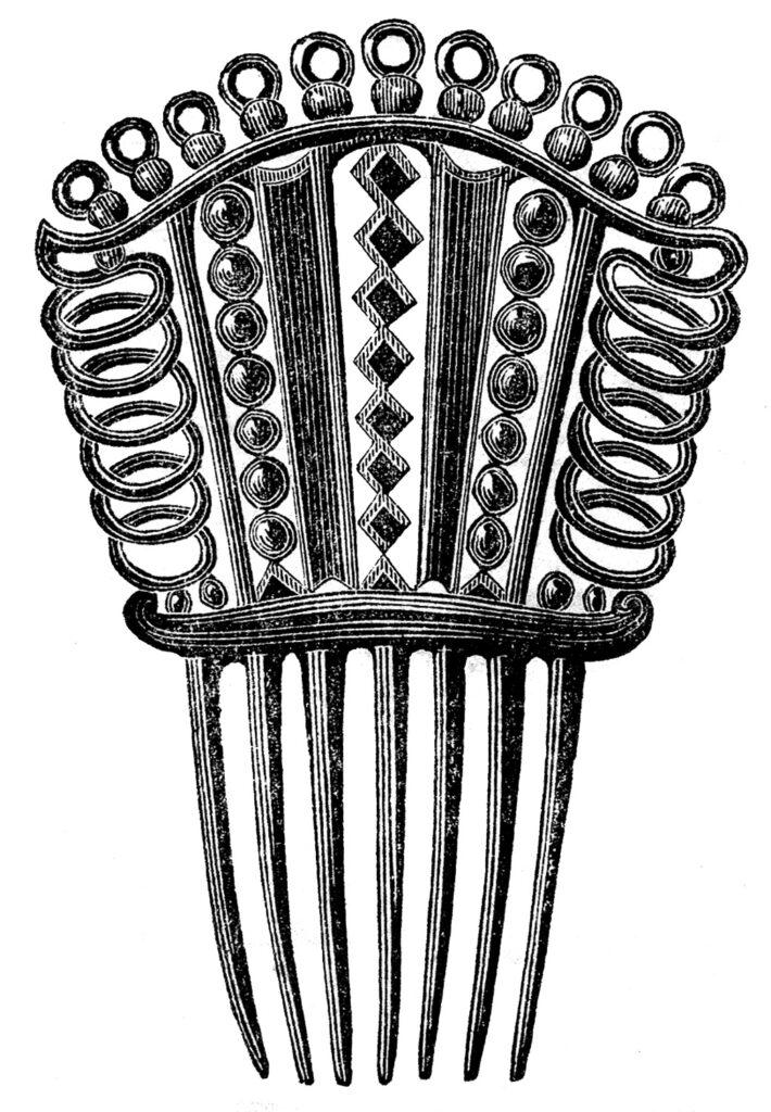 antique hair comb illustration