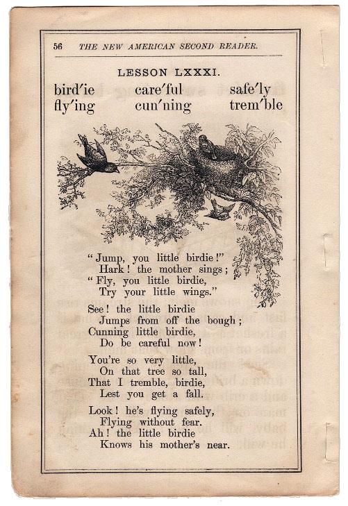 bird poem vintage reader page image