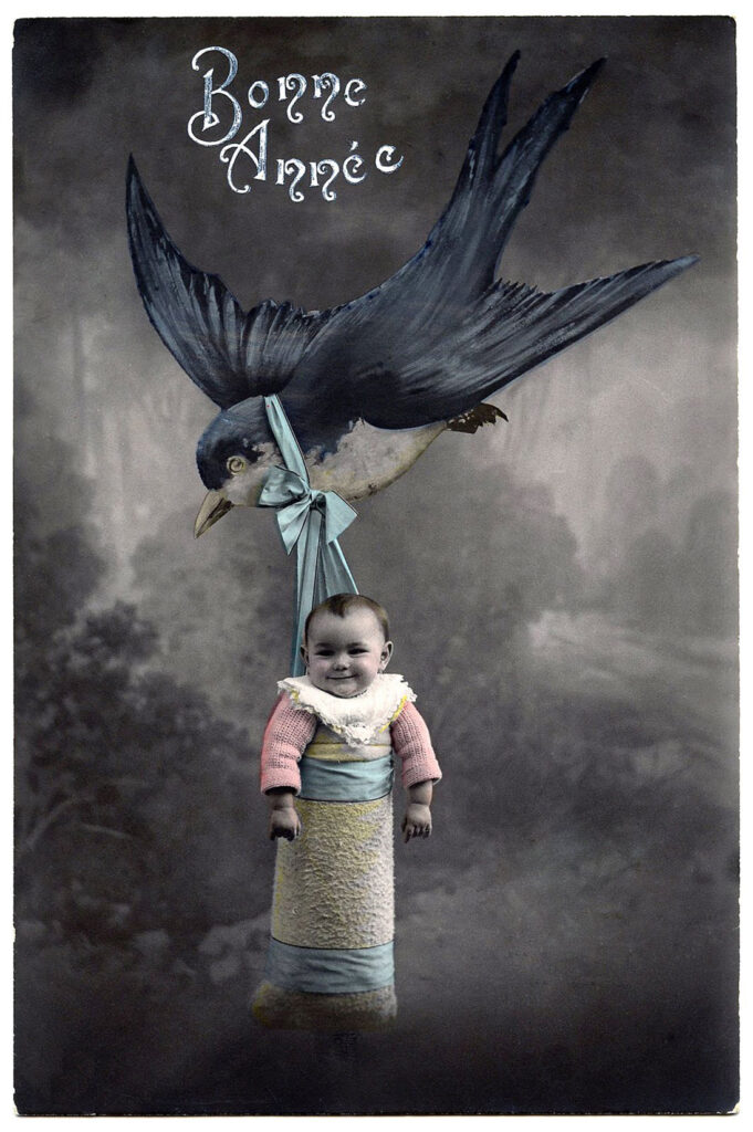 vintage colorized photo baby hot air balloon image