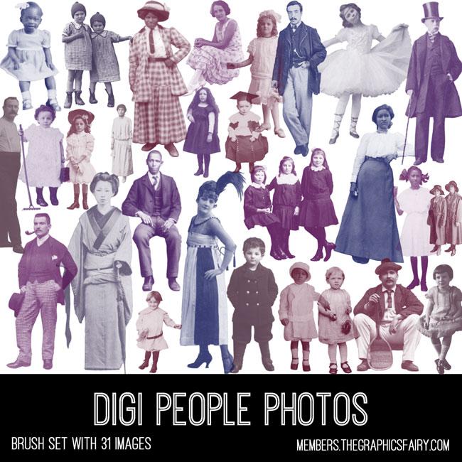 vintage digital people photos ephemera brush set