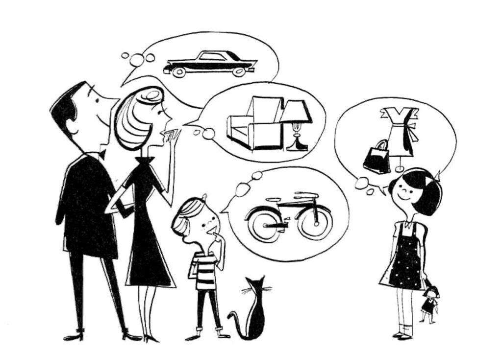 retro midcentury family budget image