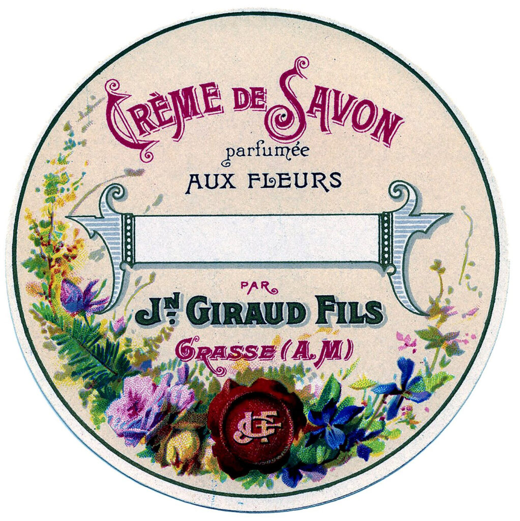 French soap label flowers round illustration