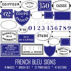 French Bleu Signs vintage ephemera bundle