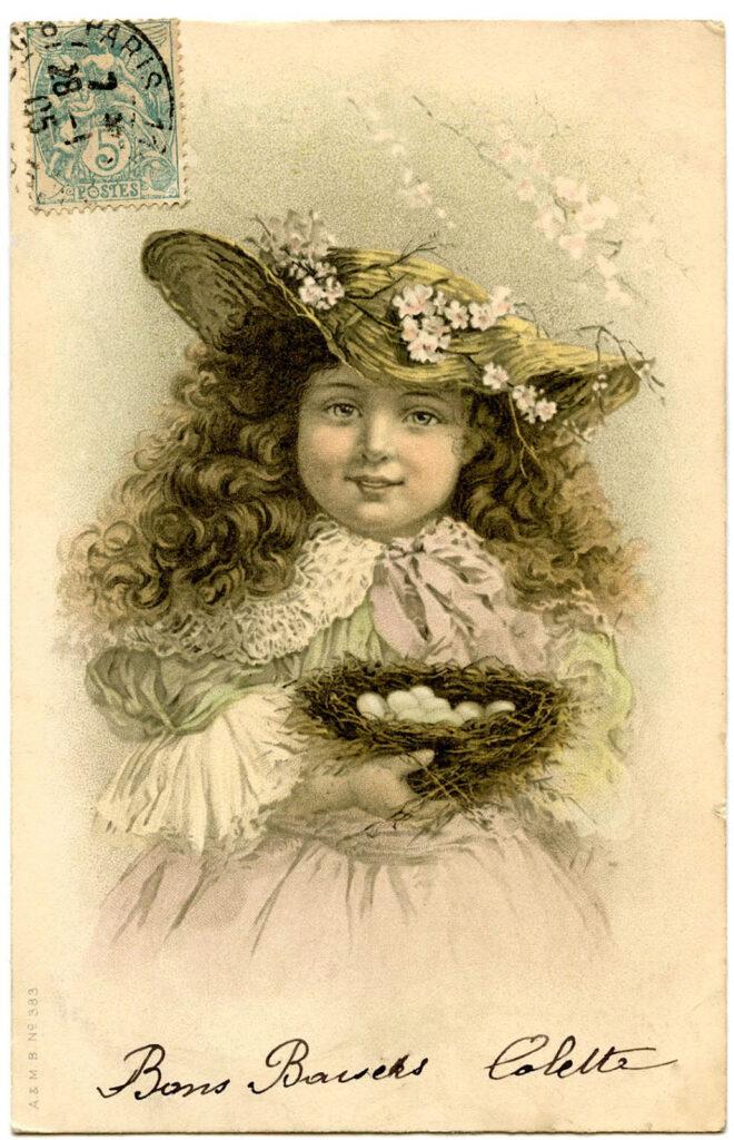 girl hat nest eggs image