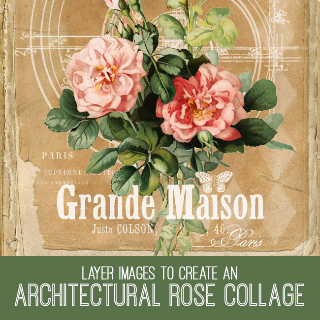 architectural rose collage PSE tutorial