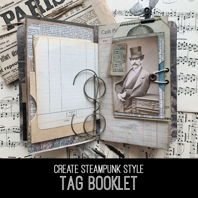 steampunk tag booklet tutorial