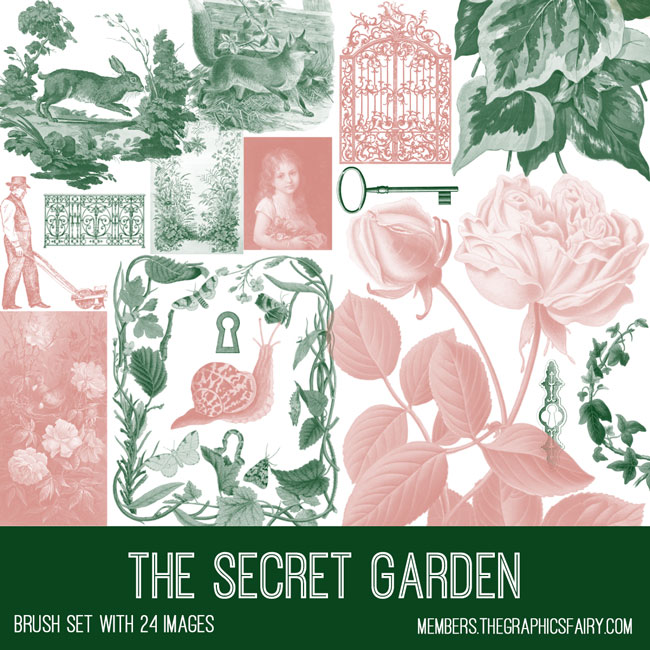 the secret garden vintage ephemera brush set