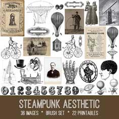 steampunk aesthetic vintage ephemera bundle