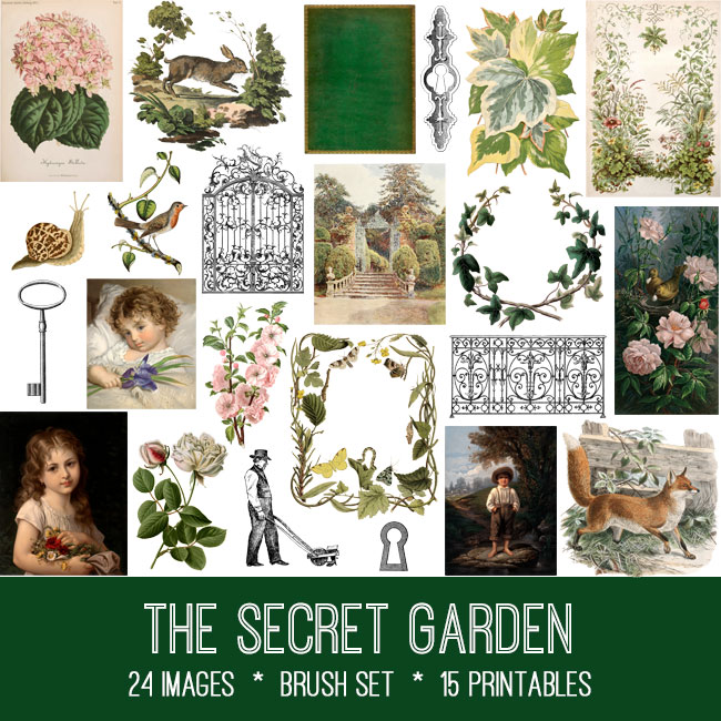 the secret garden ephemera vintage images