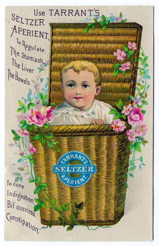 tradecard baby basket flowers vinage image
