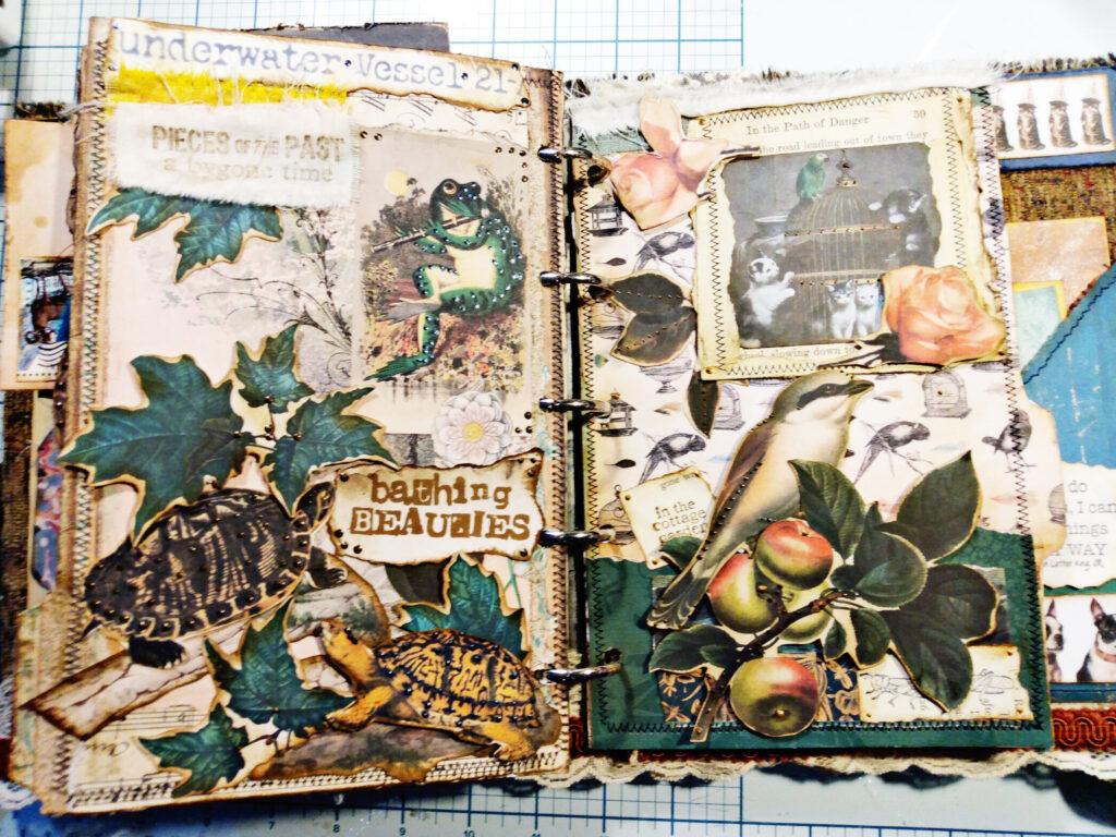 turtles bunnies junk journal page spread