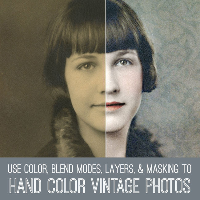 PSE tutorial hand color vintage photos