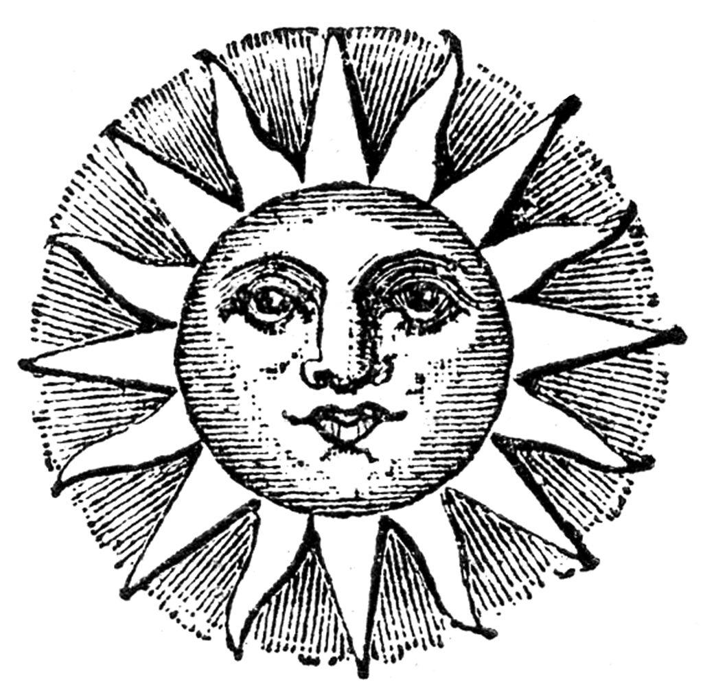 black white vintage sun face illustration