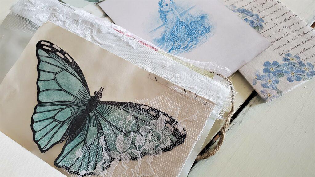 blue butterfly ephemera journal page