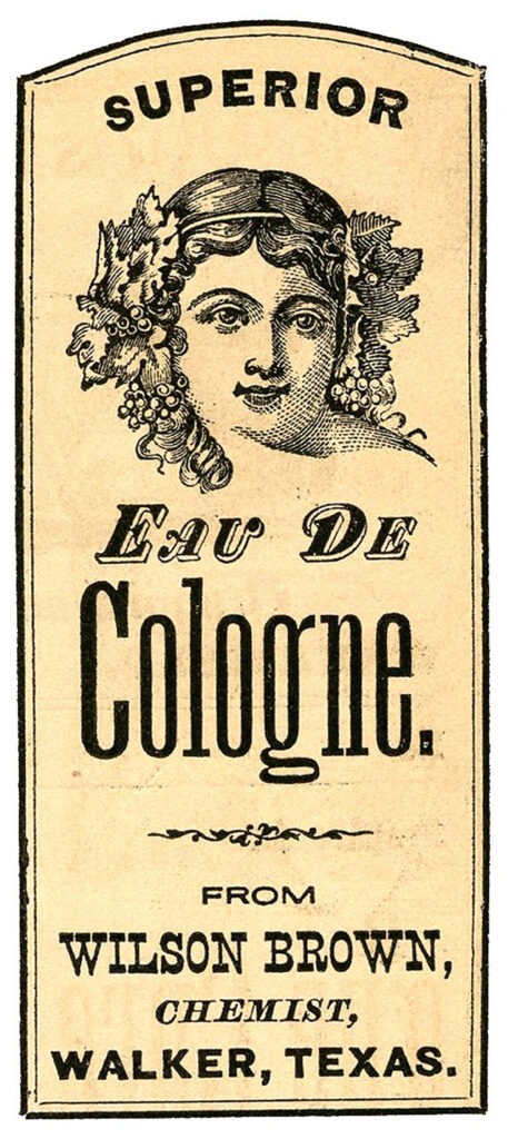 vintage French cologne label illustration