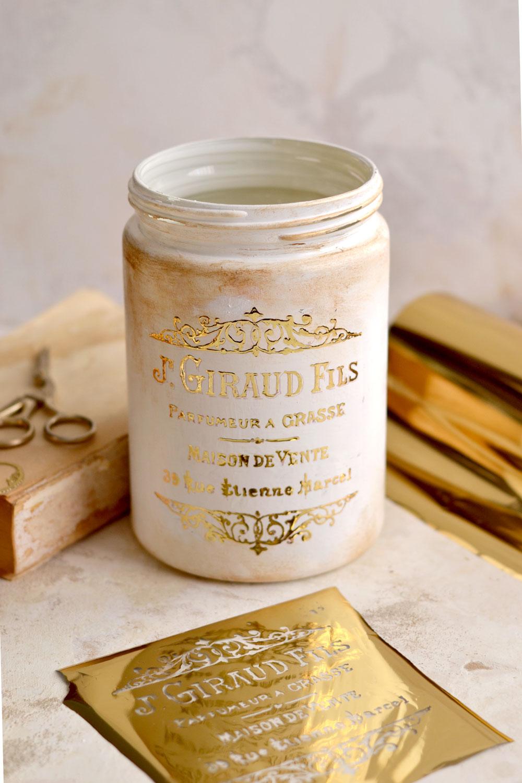 DIY Gold Foil French Jar Makeover Reveal