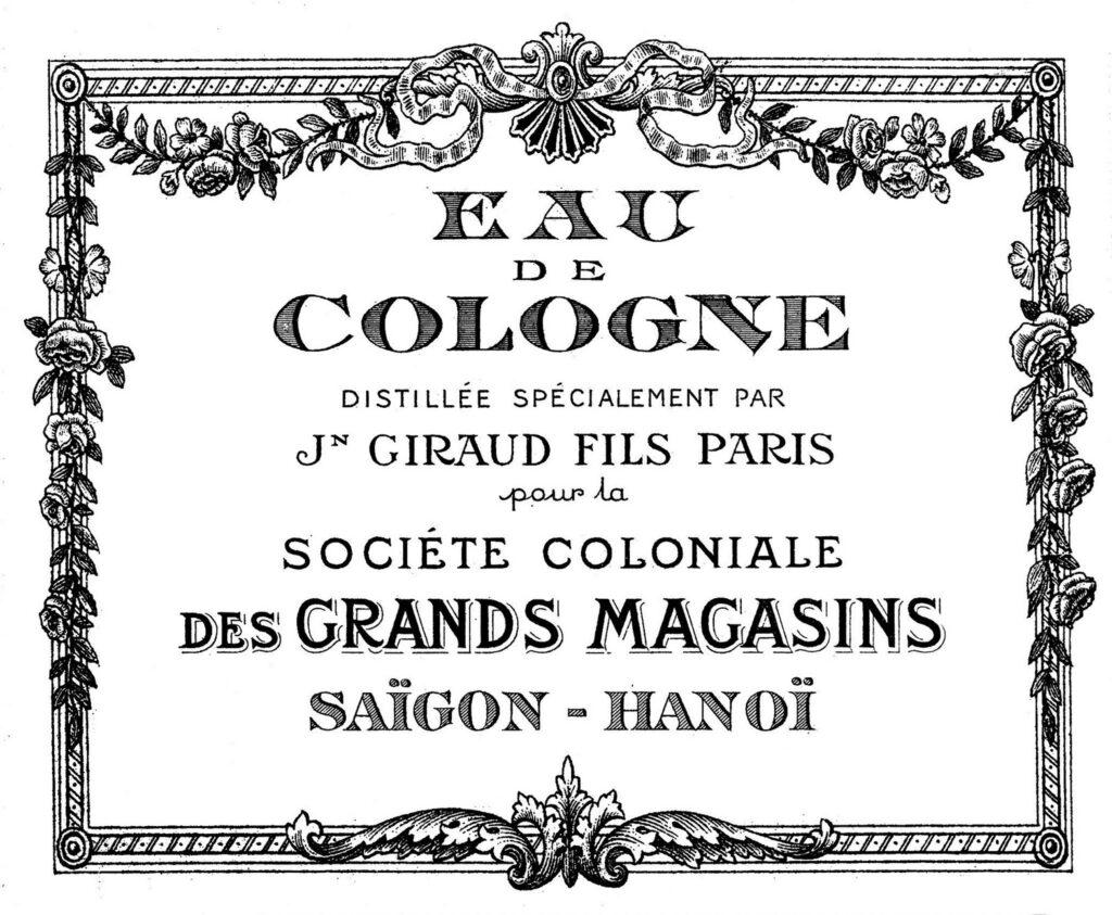 black white eau de cologne label illustration