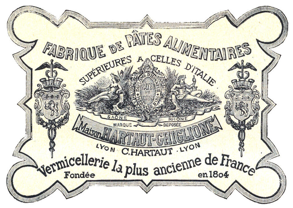 French vintage pasta label image