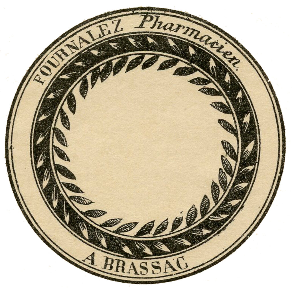 French apothecary round label image