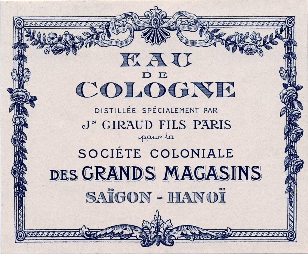 blue French vintage cologne label image
