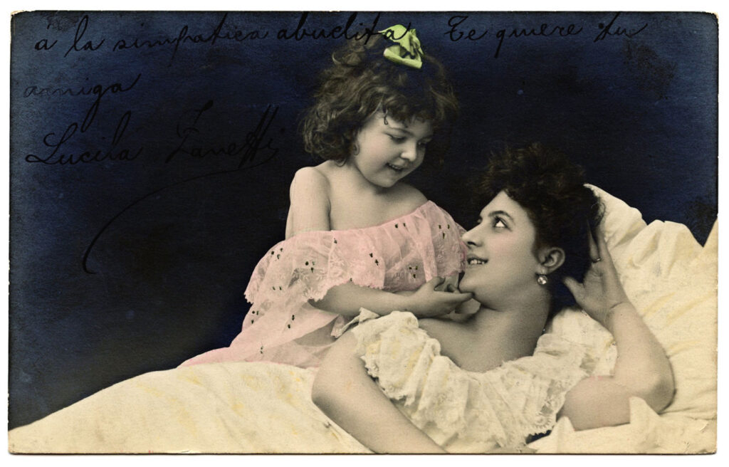 French mother daughter vintage photograph image