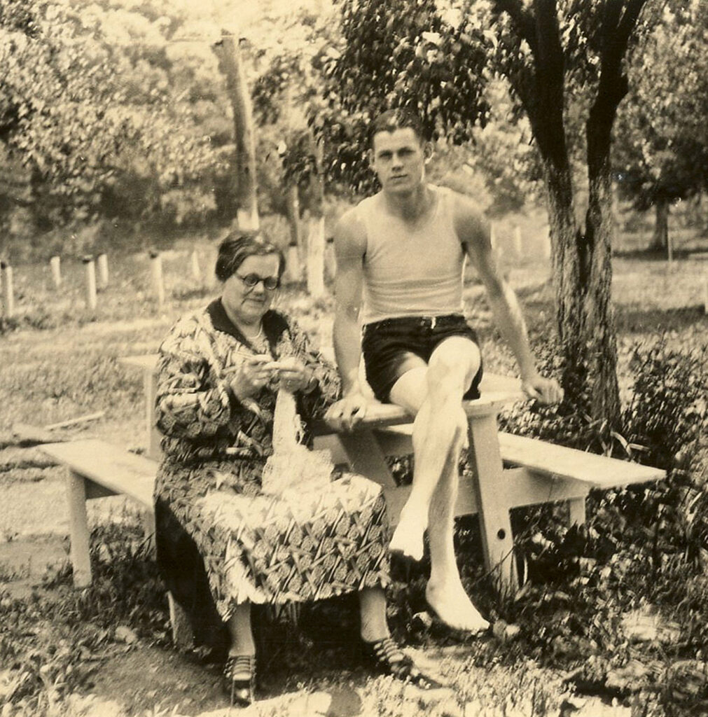 Mother son picnic table vintage photo image