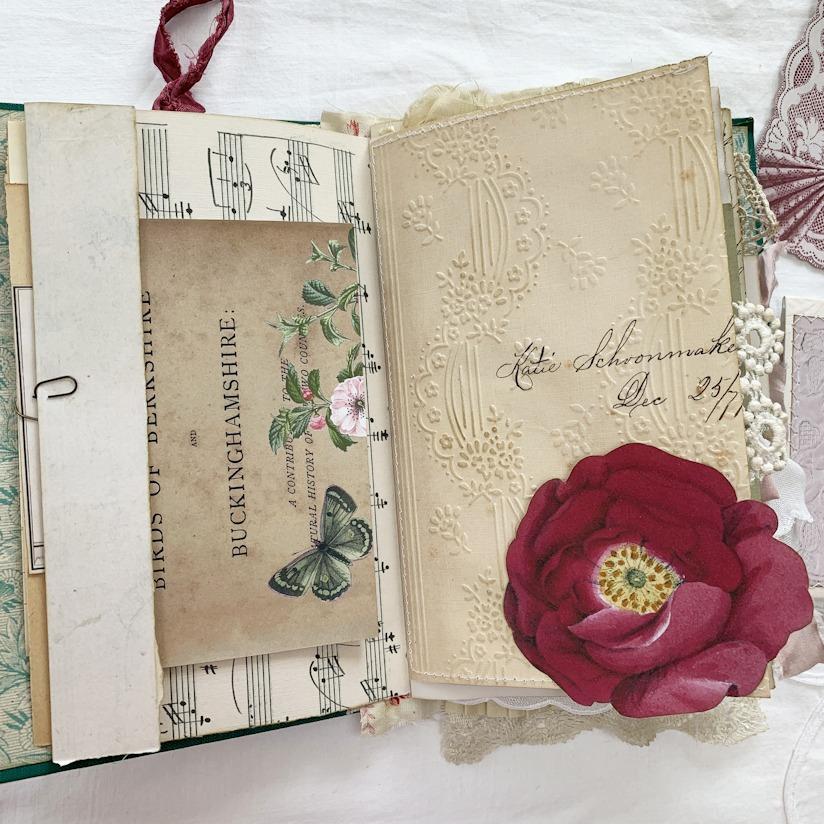 vintage ephemera rose junk journal page