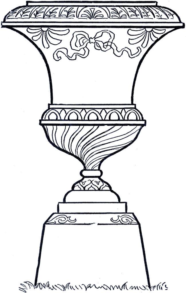 line art urn plinth illustration