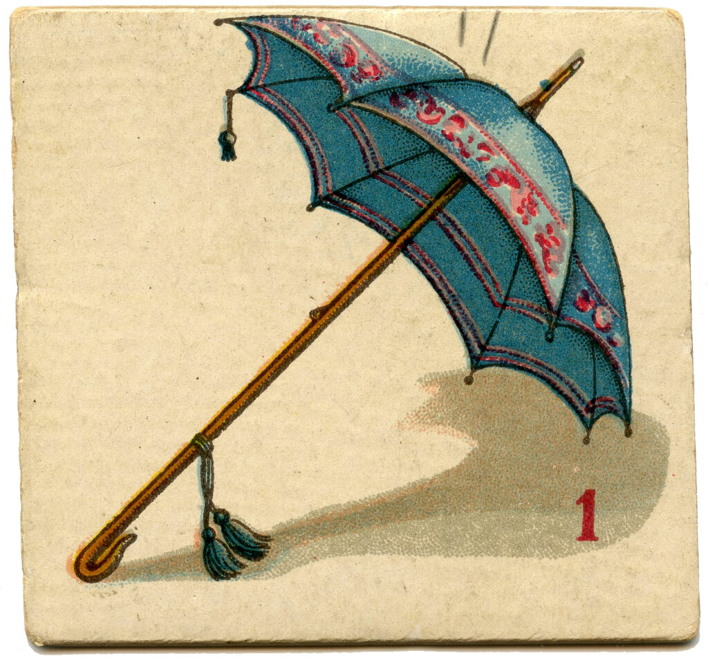blue parasol vintage game piece image