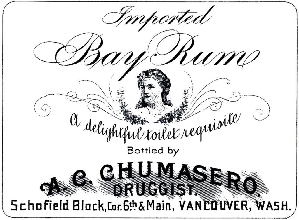 vintage bay rum cologne portrait label image