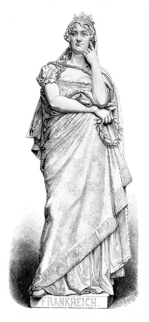 Queen France statue illustration