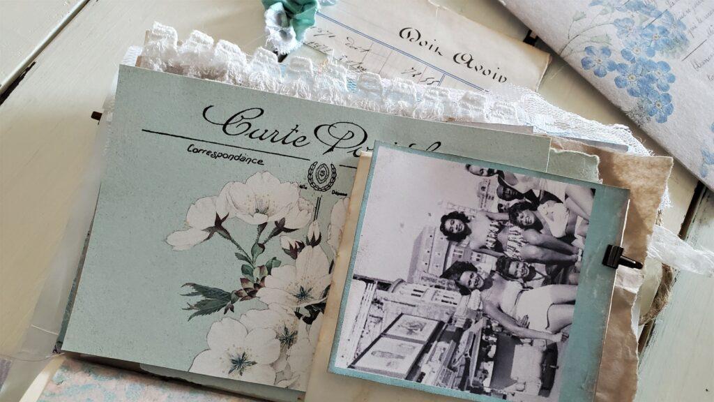 blue white floral postcard journal embellishment