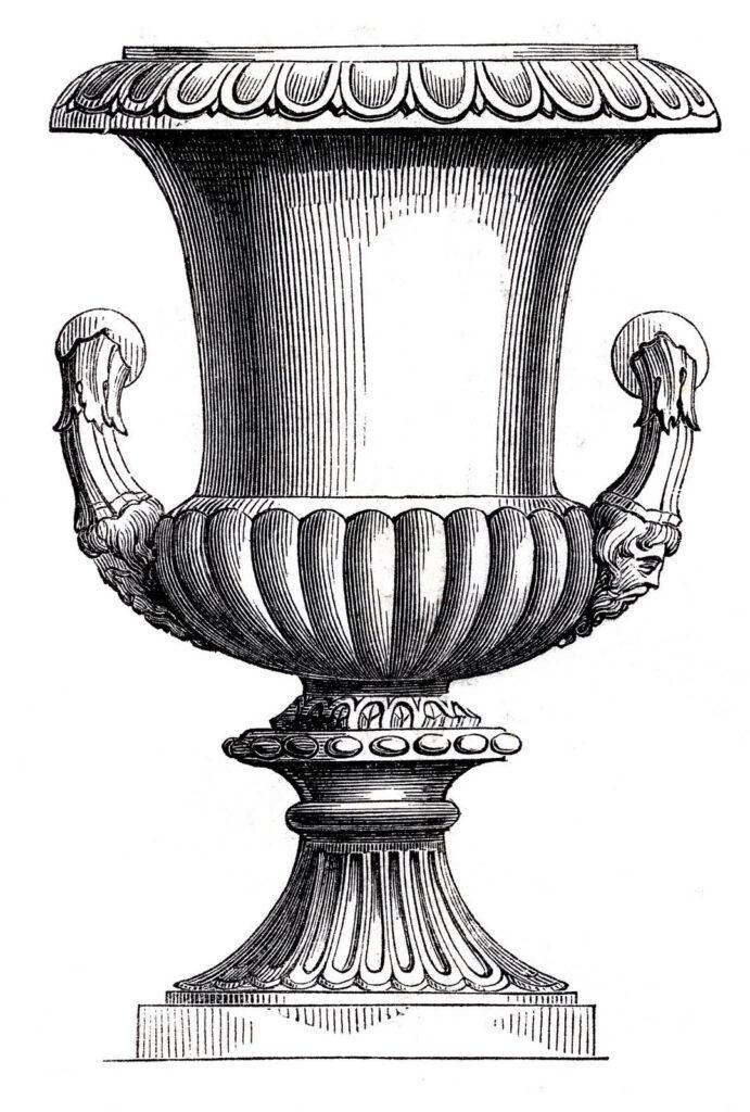 tall urn black white clipart