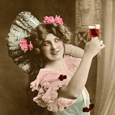 Woman toasting with a glass of wine