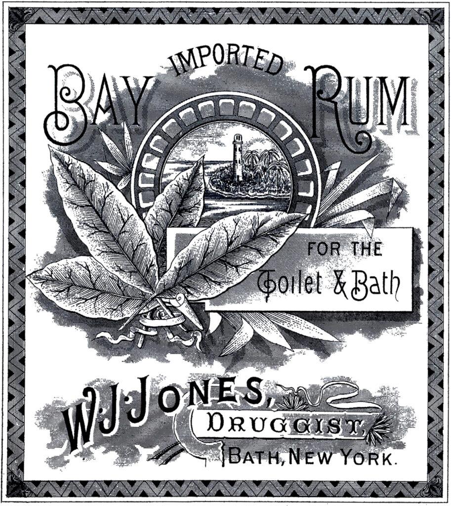 vintage cologne label bay rum image