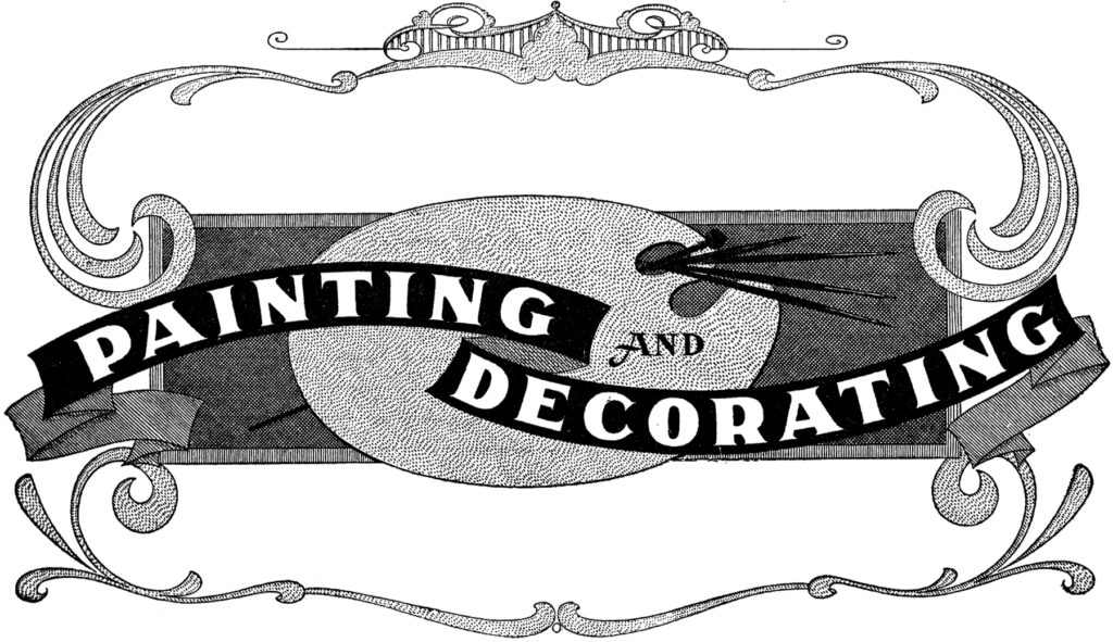 painting decorating vintage typography clipart