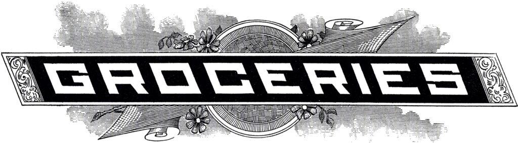 vintage groceries sign typography image
