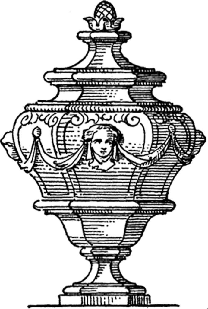 vintage ornate urn illustration