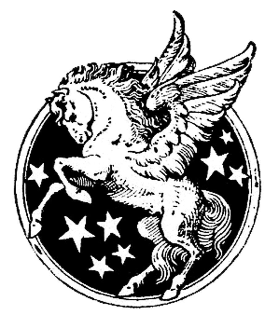 Pegasus winged horse stars clipart