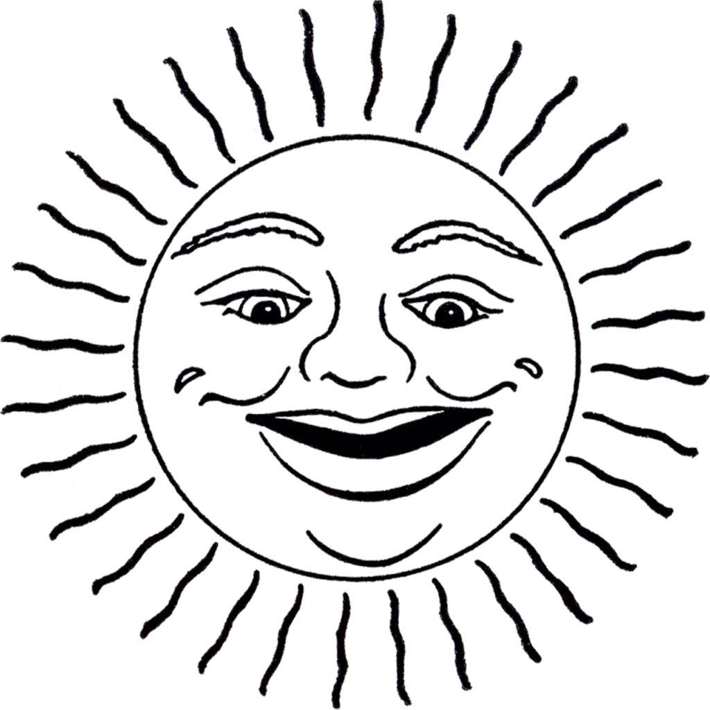 retro face sun clipart