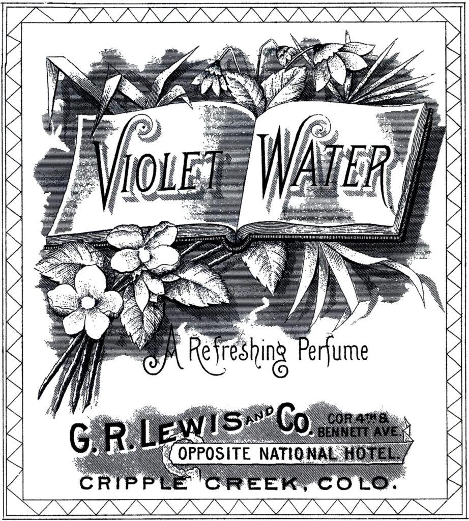vintage violet water label clipart