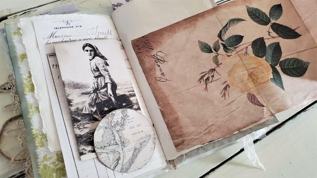 yellow rose ephemera journal page