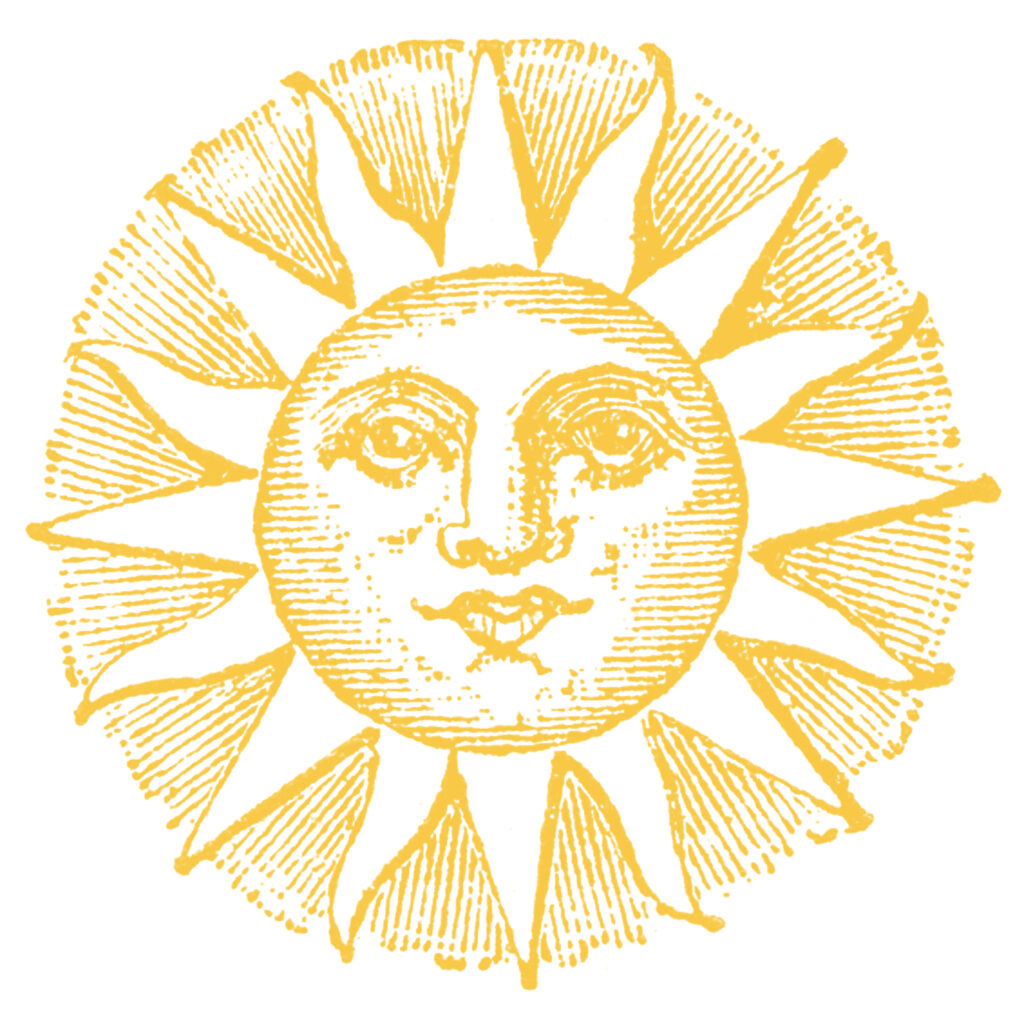 yellow sun face vintage image