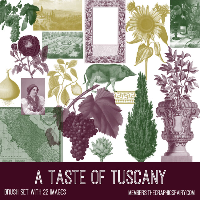 vintage a taste of tuscany ephemera brush set