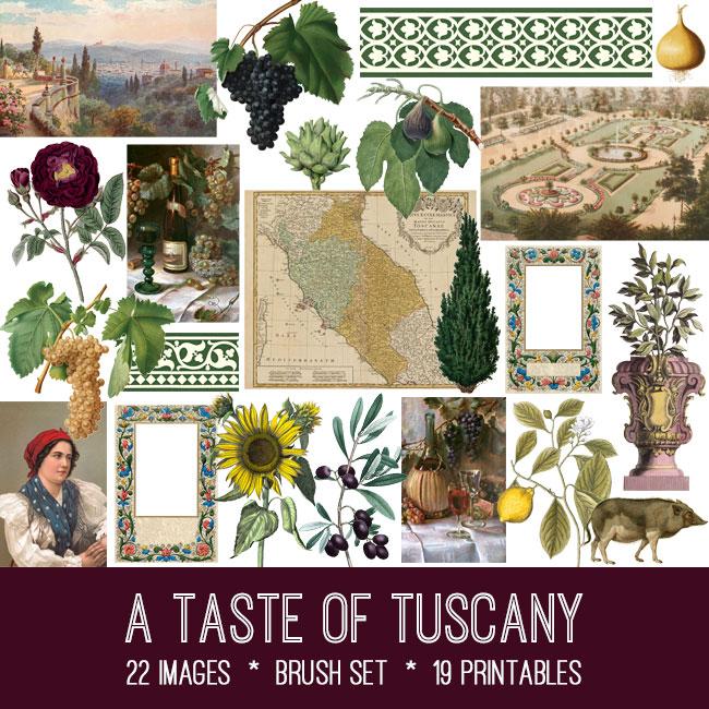 A Taste of Tuscany ephemera vintage images