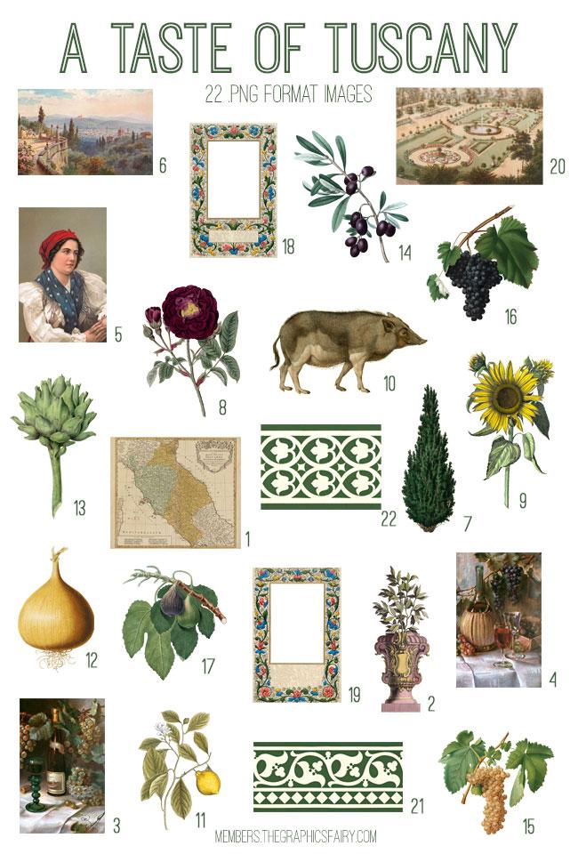 vintage a taste of tuscany ephemera bundle