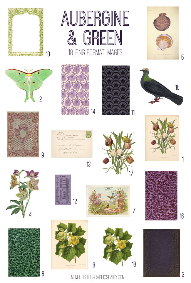 vintage aubergine & green ephemera digital image bundle