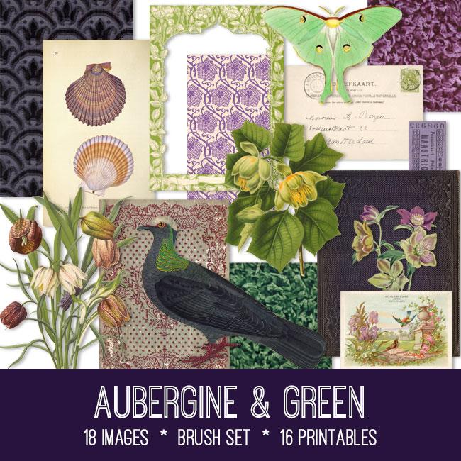 aubergine & green vintage images