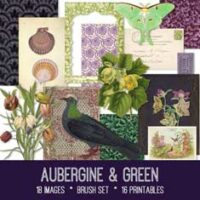 vintage aubergine & green ephemera bundle
